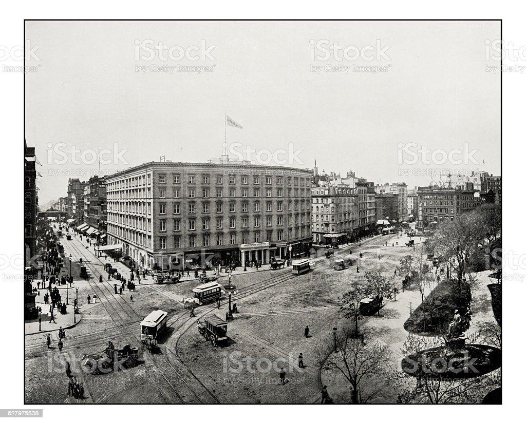 Antique photograph of Madison Square, New York stock photo