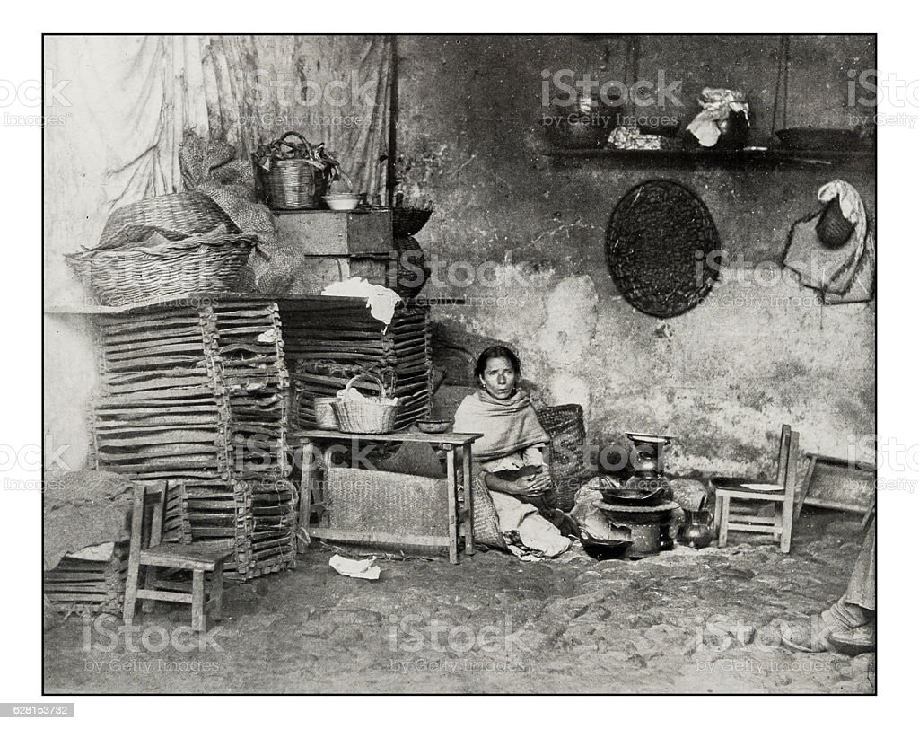 Antique photograph of Mexican Kitchen in Orizaba stock photo