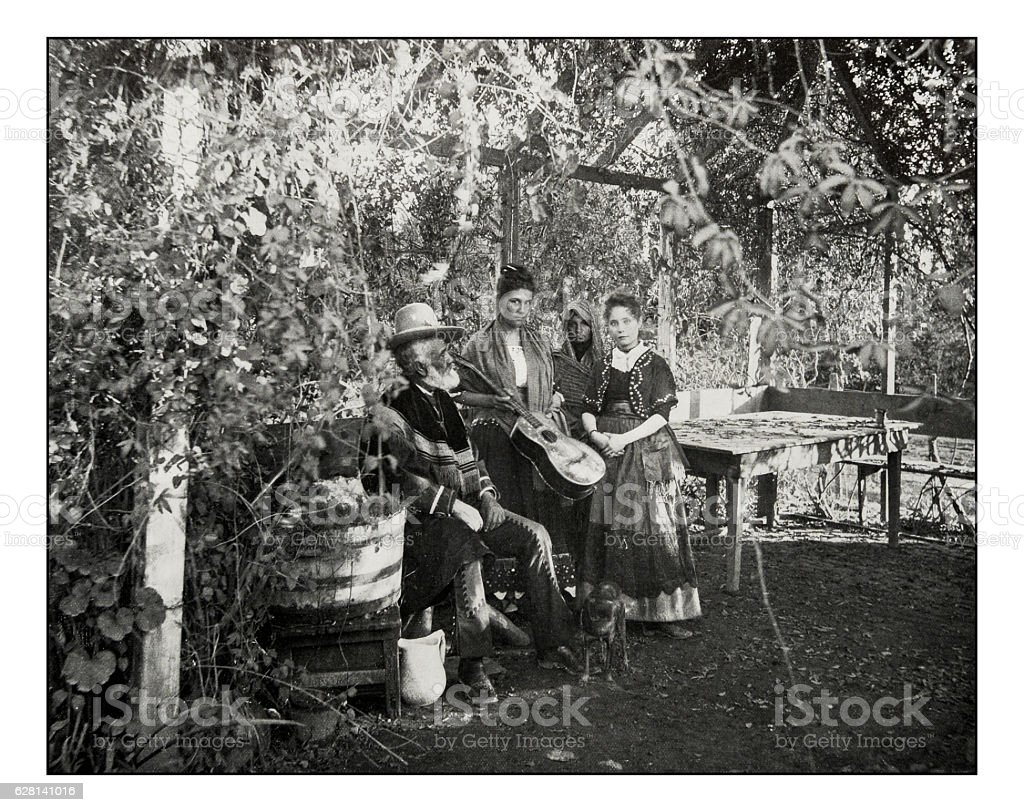 Antique photograph of Mexicans in Southern California stock photo