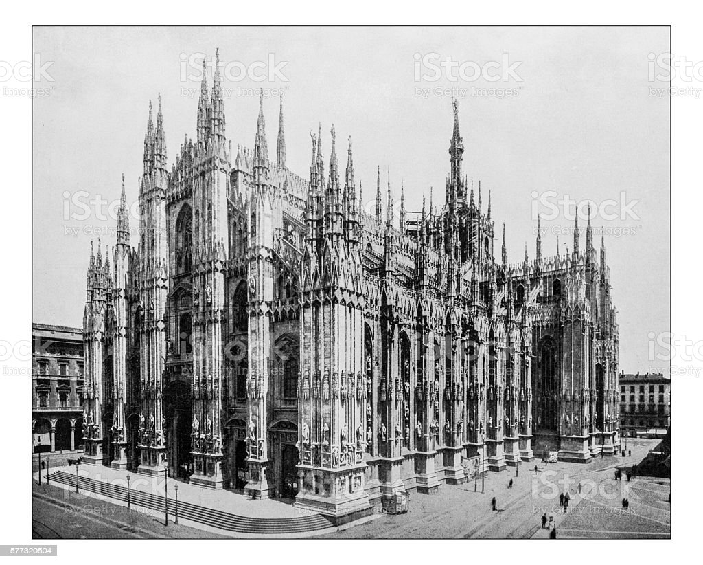 Antique photograph of Milan Cathedral (Duomo di Milano, Italy)-19th century stock photo