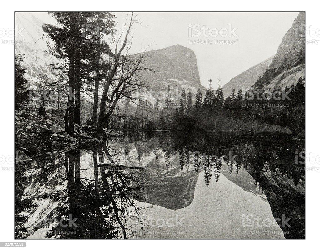 Antique photograph of Mirror Lake, Teneya Canyon stock photo