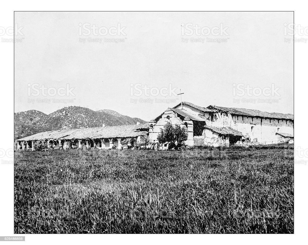 Antique photograph of Mission San Antonio de Padua (California) stock photo