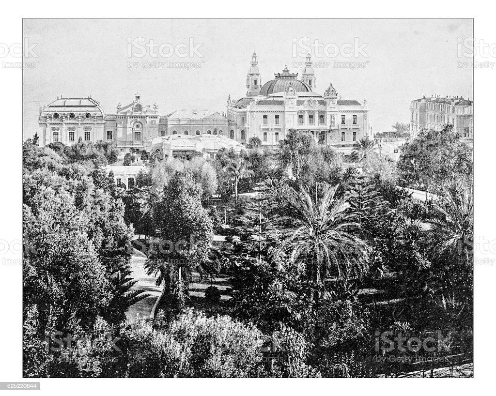 Antique photograph of Monte Carlo Casino (Montecarlo,Monaco, 19th century) stock photo
