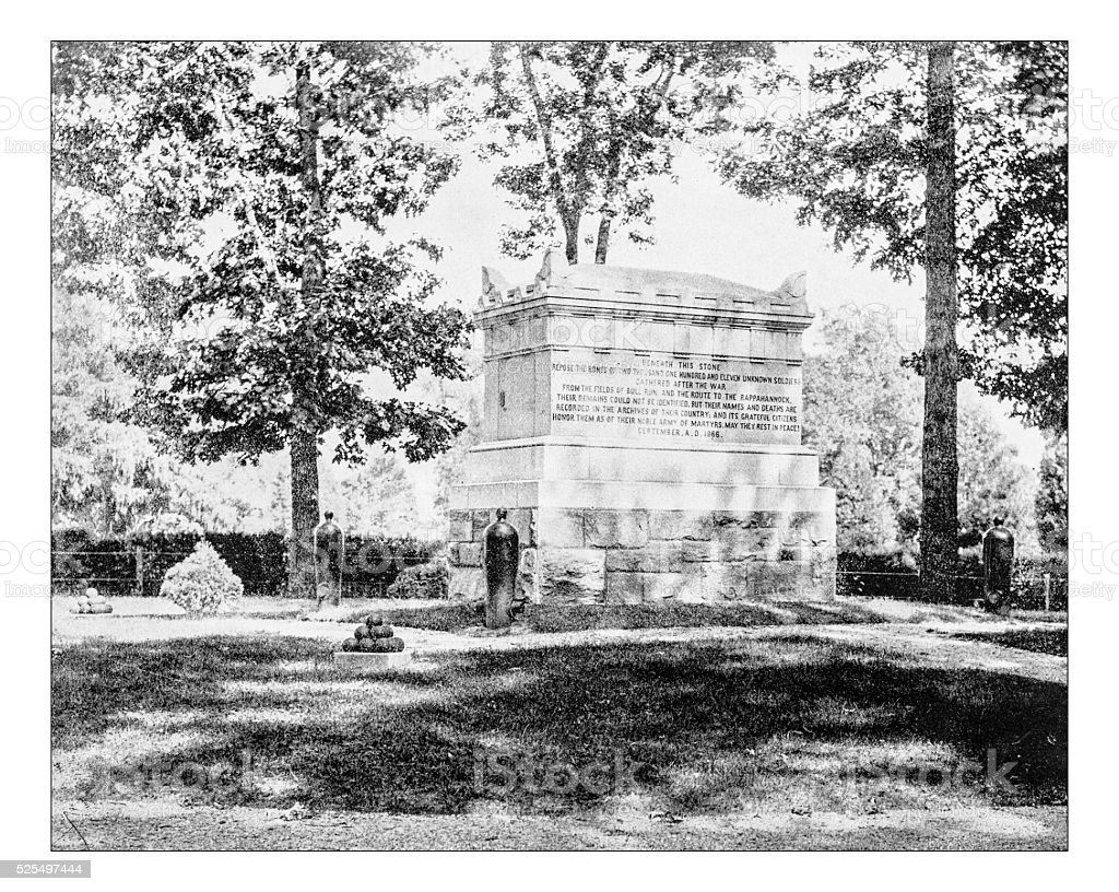 Antique photograph of monument to unknown Union soldier (Arlington cemetery) stock photo