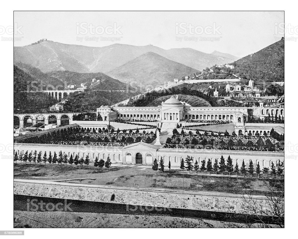 Antique photograph of Monumental Cemetery of Staglieno(Genoa, Italy)-19th century stock photo