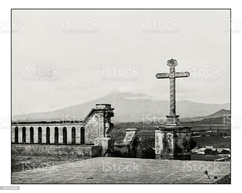 Antique photograph of Mount Popocatepetl, Mexico stock photo