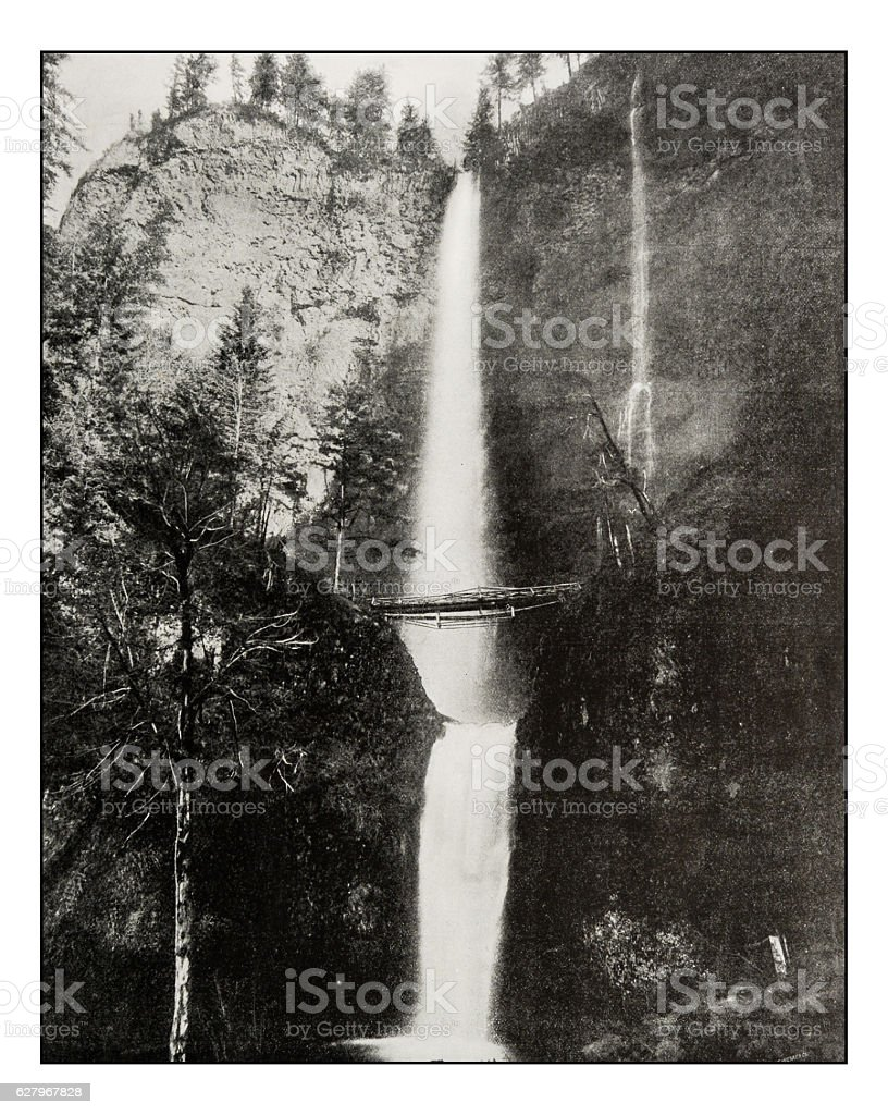 Antique photograph of Multnomah Falls stock photo