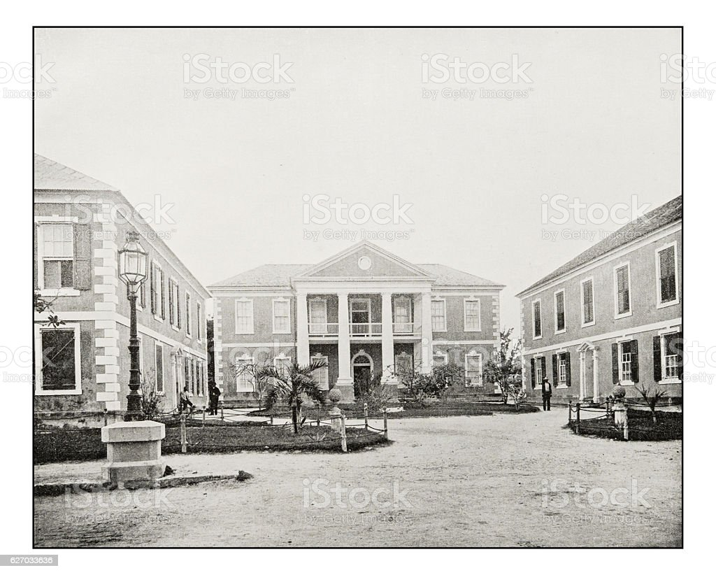 Antique photograph of Nassau Government Building, Bahamas stock photo
