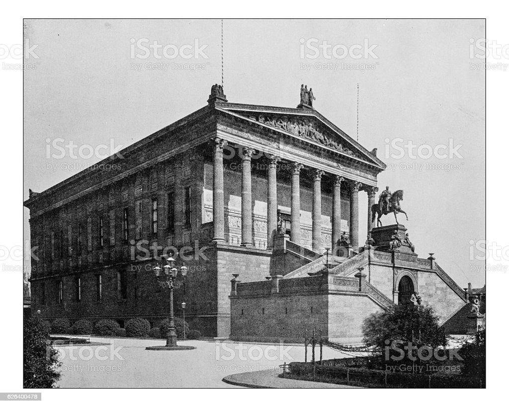 Antique photograph of National Gallery, Berlin stock photo