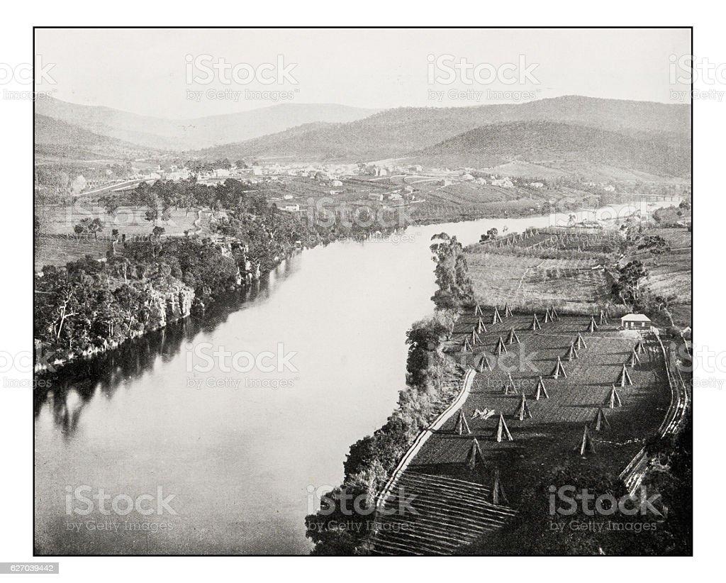 Antique photograph of New Norfolk, Derwent River, Tasmania stock photo