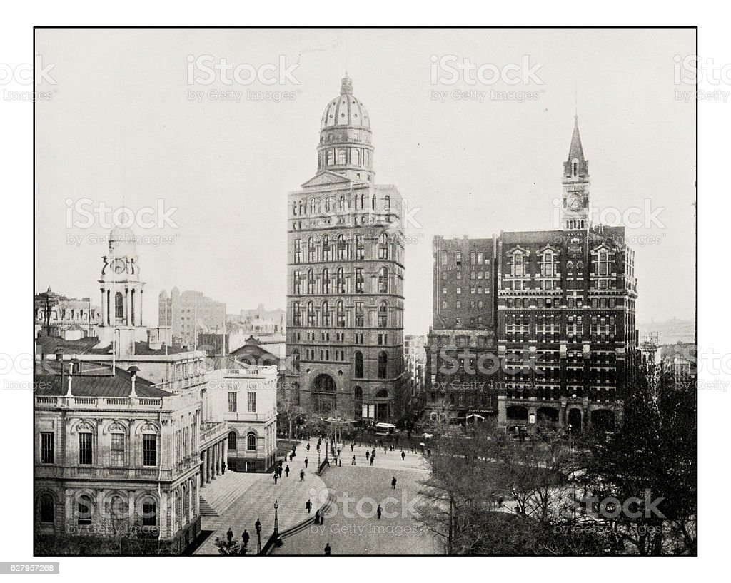 Antique photograph of New York newspaper buildings stock photo