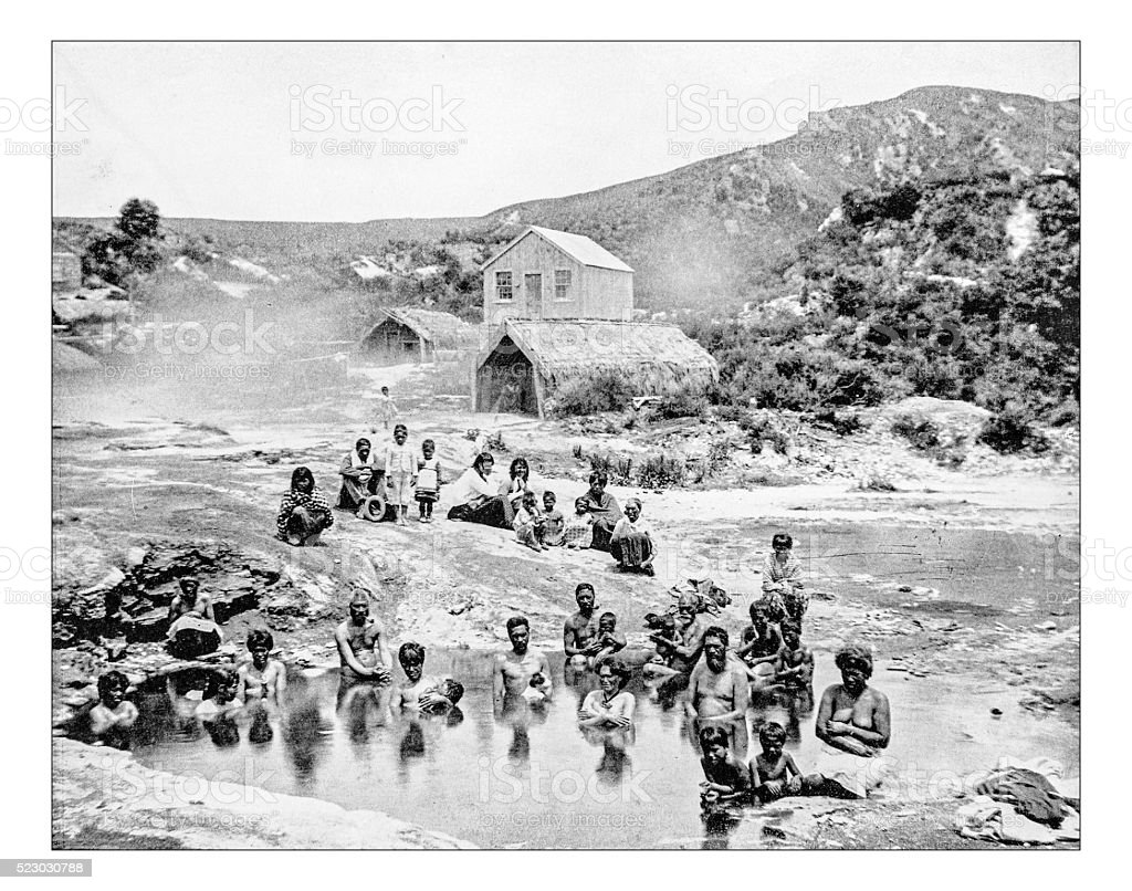 Antique photograph of  New Zealand natives bathing in hot springs stock photo