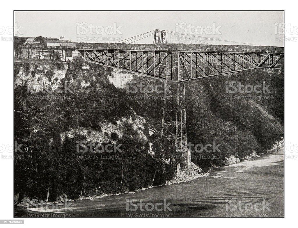 Antique photograph of Niagara cantilever bridge stock photo