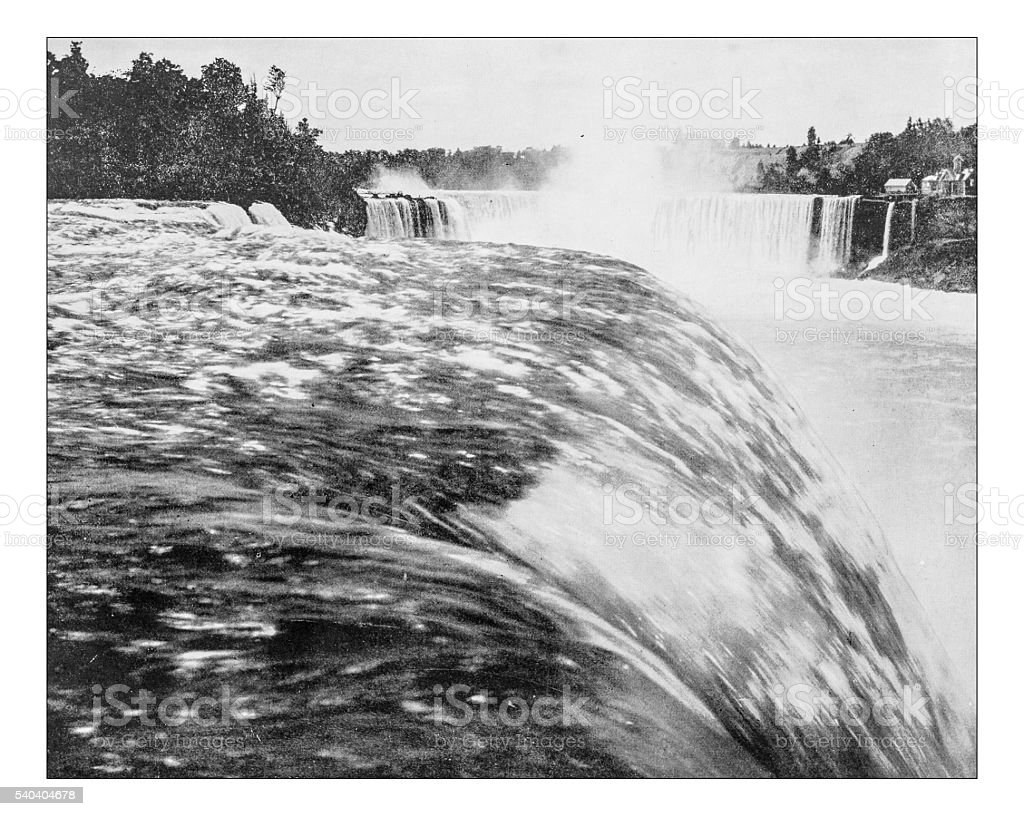 Antique photograph of Niagara Falls from Table rock-19th century stock photo