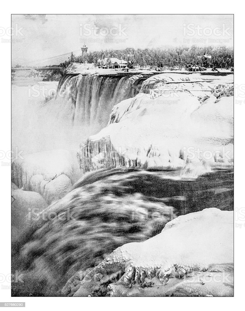 Antique photograph of Niagara falls (Winter 1892-3) stock photo