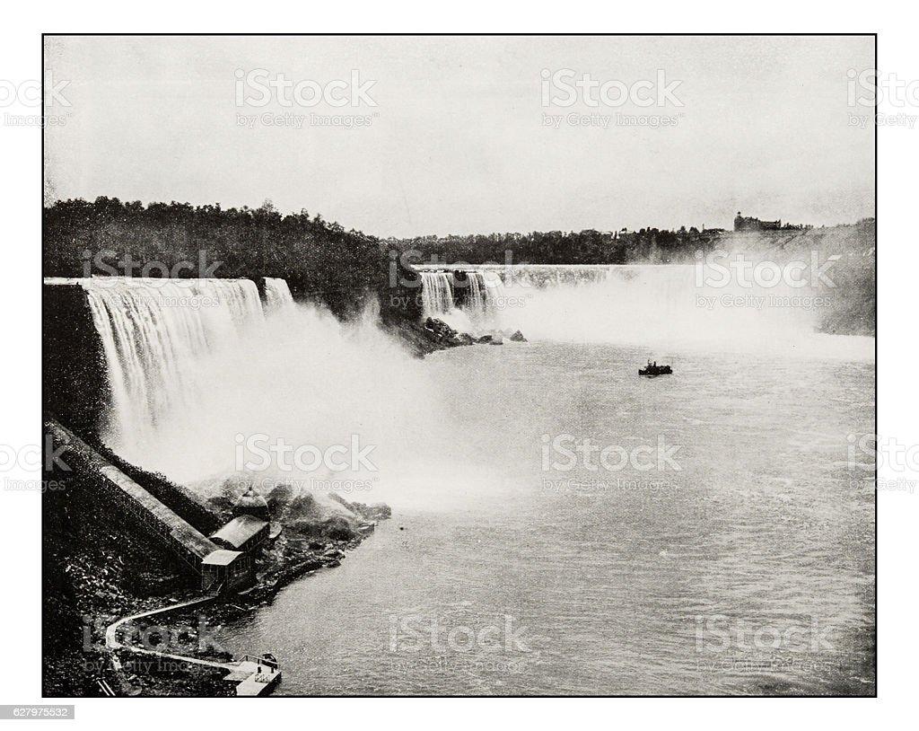 Antique photograph of Niagara Falls stock photo