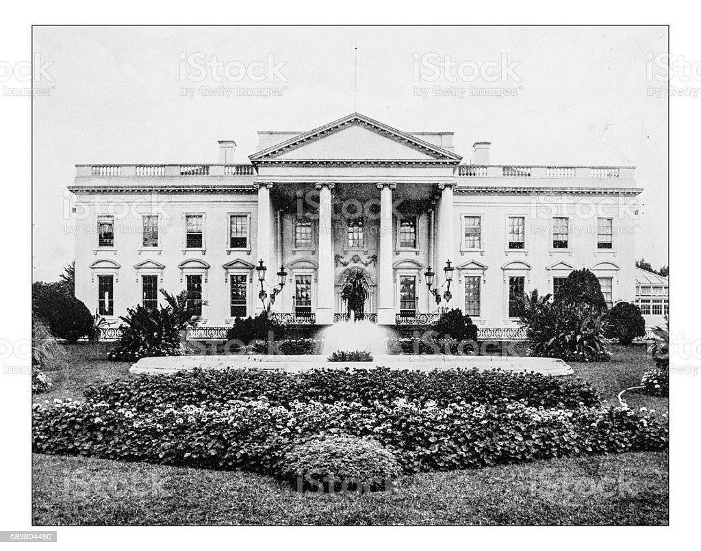 Antique photograph of northern facade-White House(Washington,D.C.,USA)-19th century stock photo
