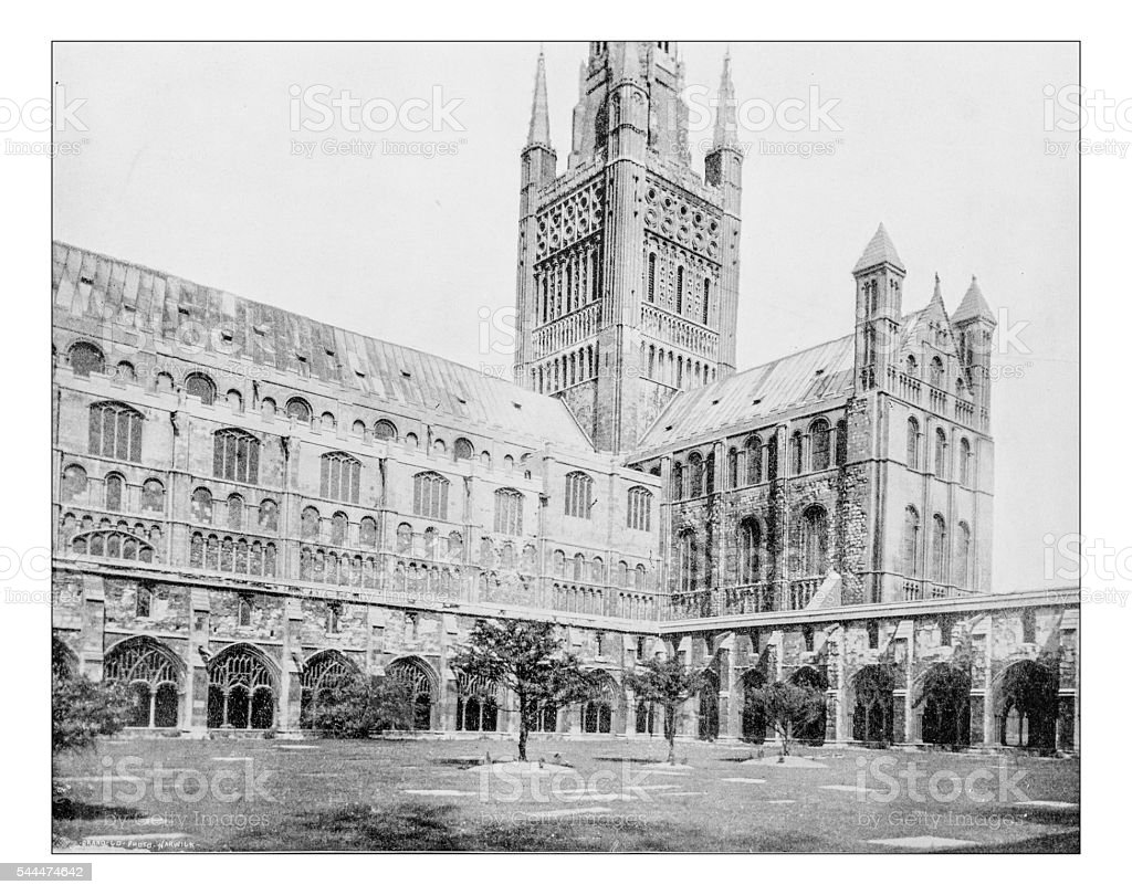 Antique photograph of Norwich Cathedral (Norwich, Norfolk, England)-19th century stock photo