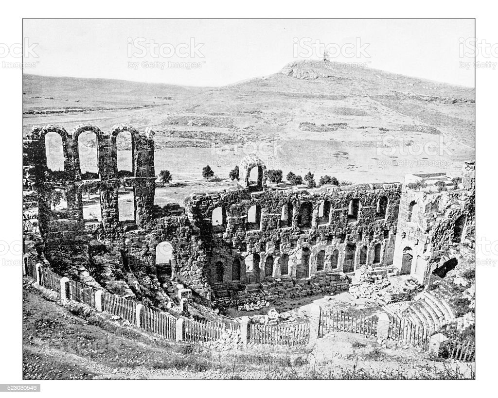 Antique photograph of Odeon of Herodes Atticus (Athens)-19th century stock photo