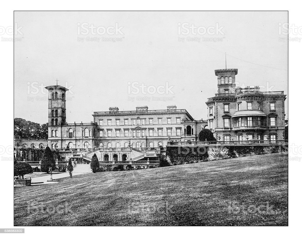Antique photograph of Osborne House (Isle of Wight, UK)-19th century stock photo