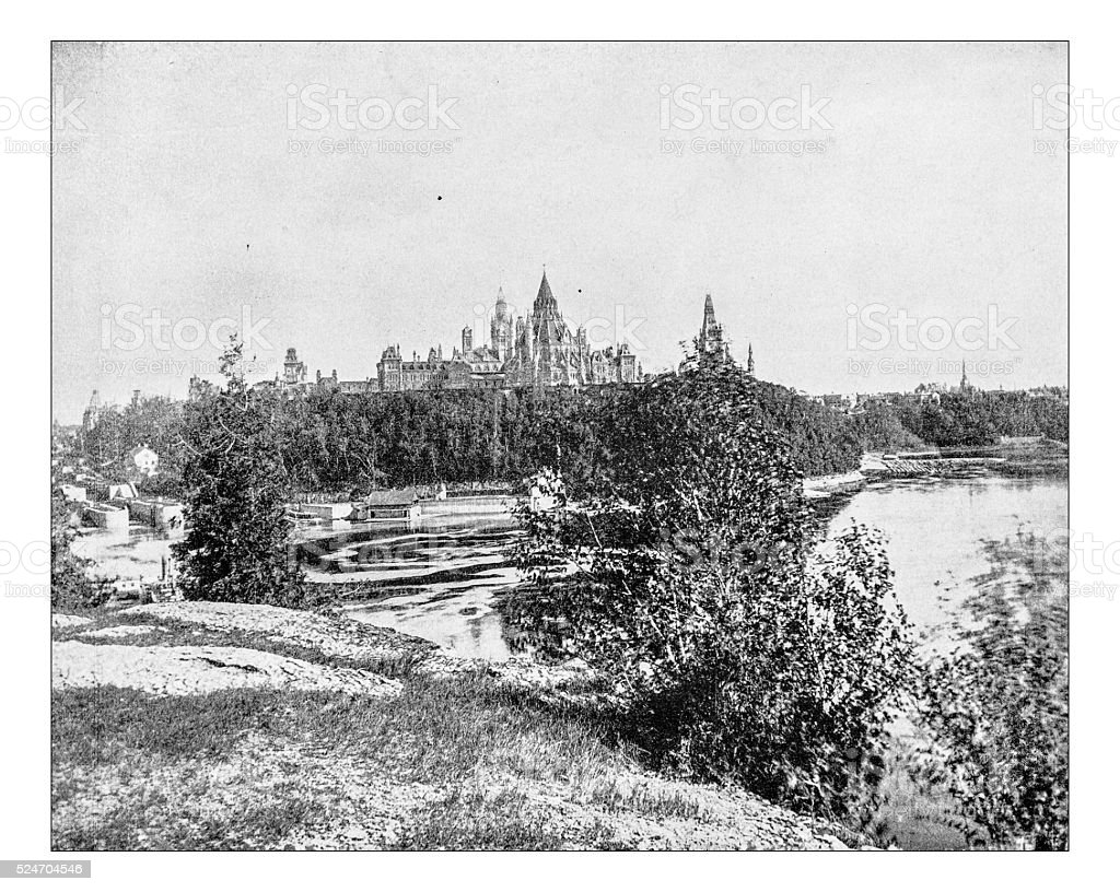 Antique photograph of Ottawa cityscape with Parliament Hill (19th century) stock photo