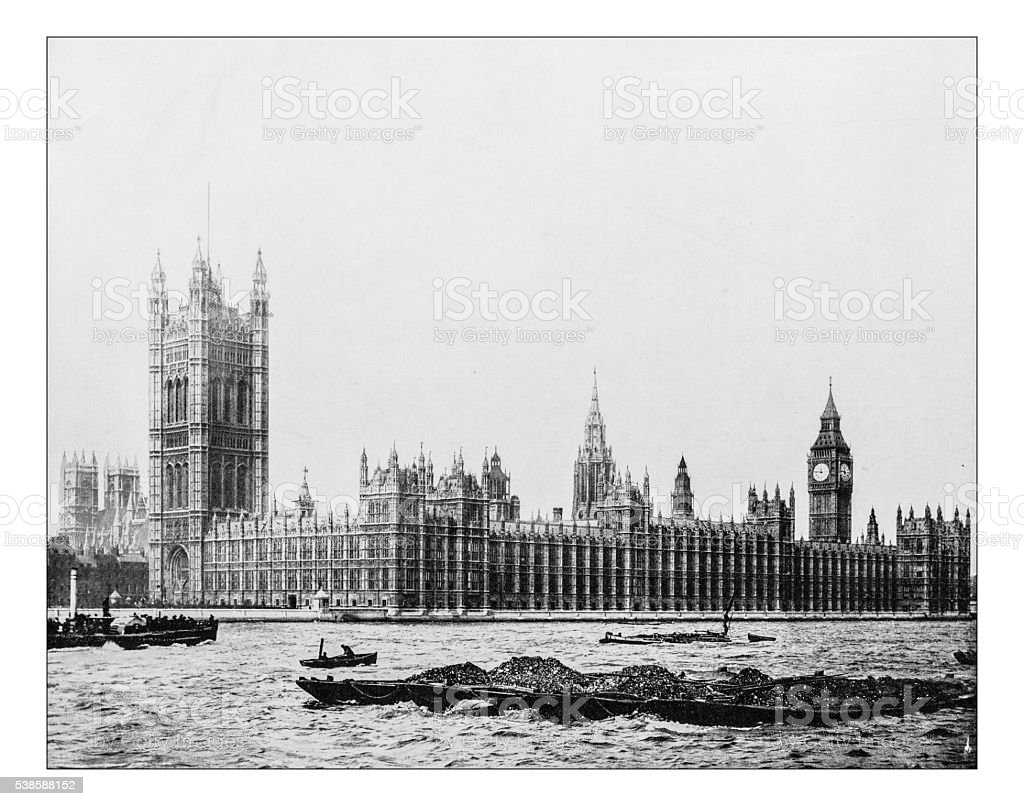 Antique photograph of Palace of Westminster (London, England)-19th century stock photo
