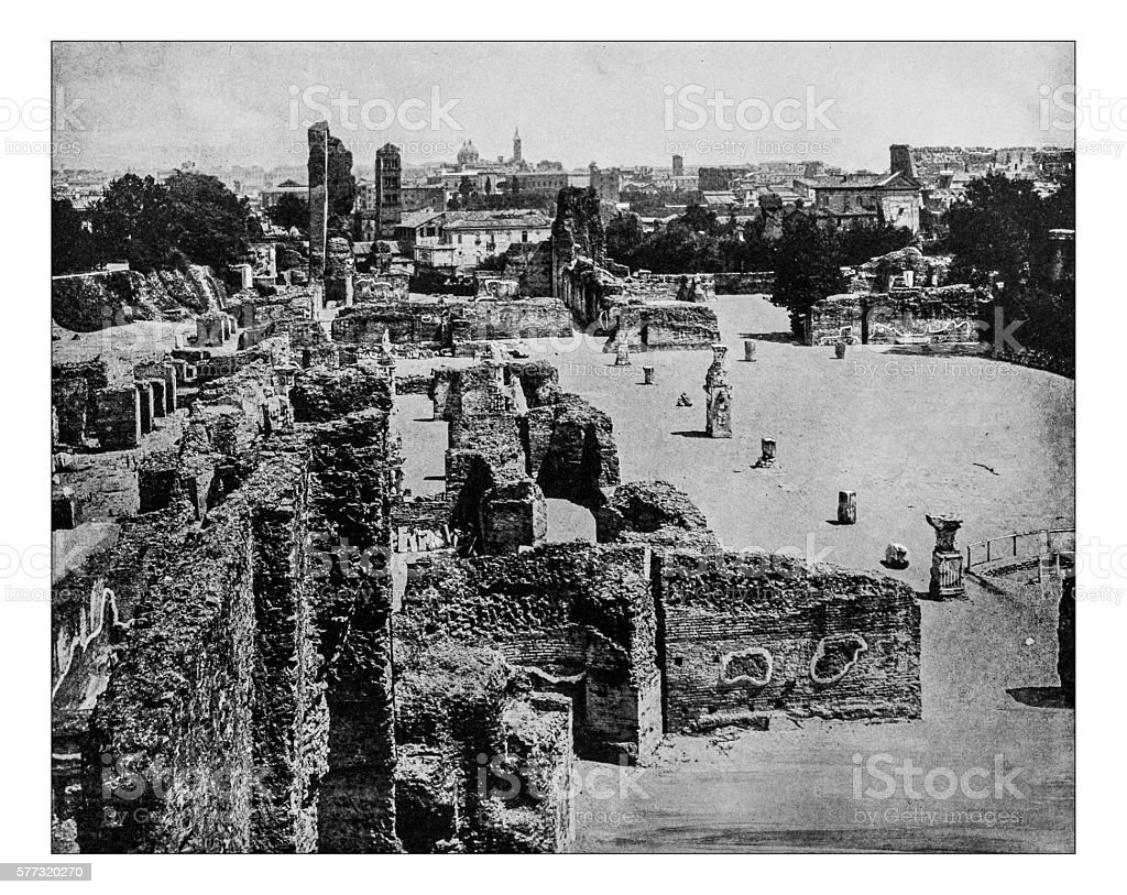 Antique photograph of Palatine Hill with Rome icityscape(Italy)-19th century stock photo