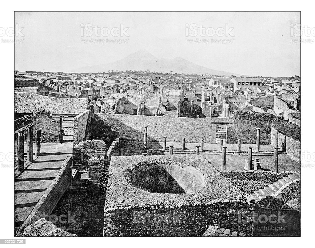 Antique photograph of panorama of ancient Pompeii (Italy)-19th century stock photo