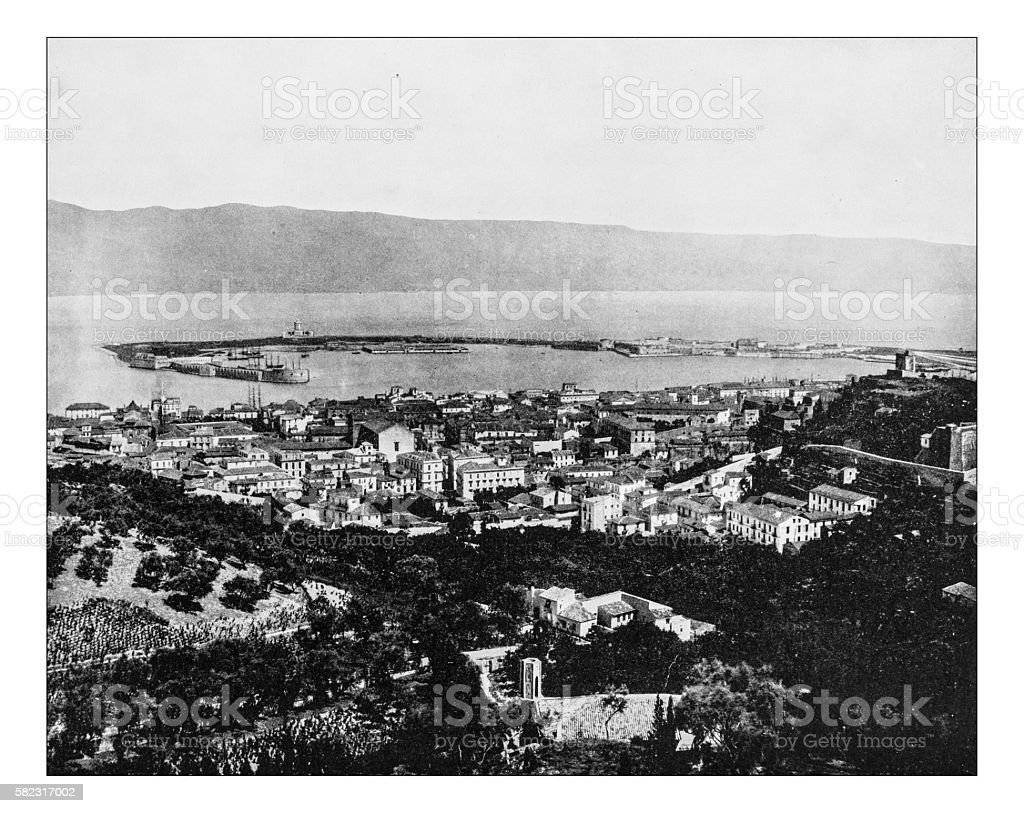 Antique photograph of panorama of Messina (Sicily, Italy) -19th century stock photo