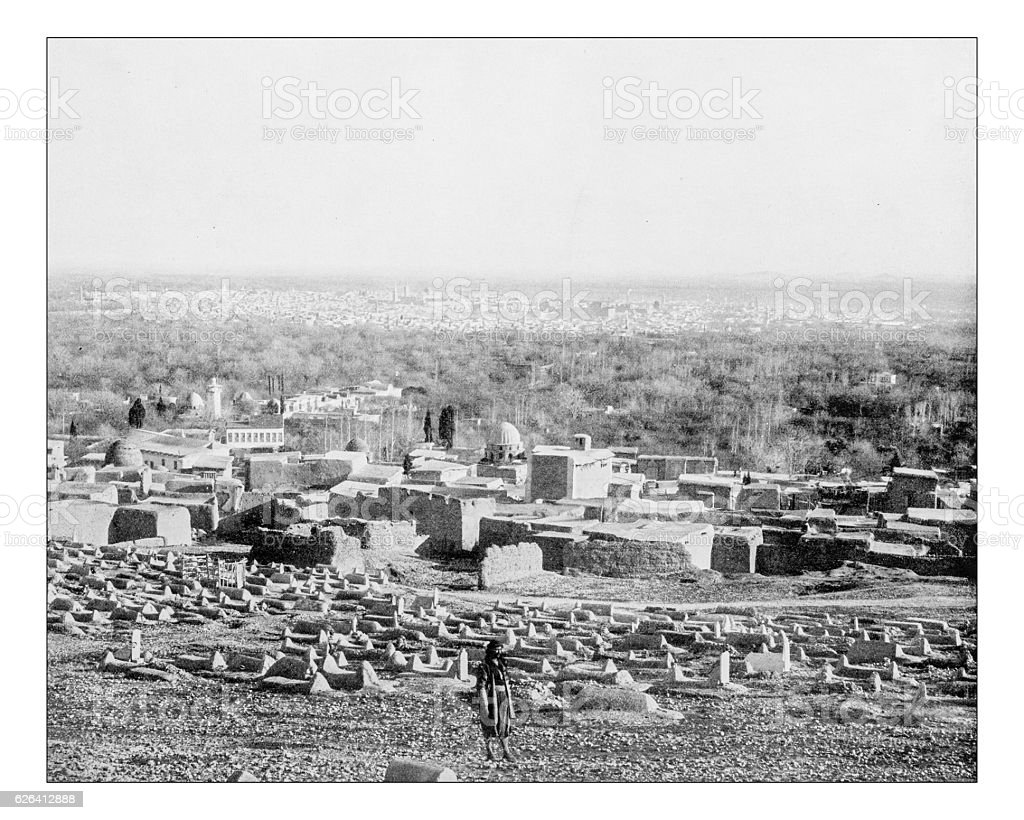 Antique photograph of panoramic view of Damascus (Syria-19th century) stock photo