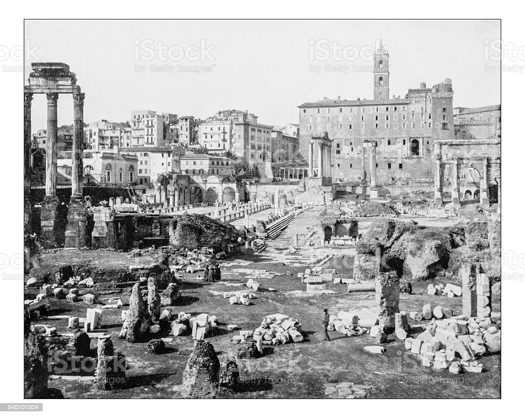 Antique photograph of panoramic view of Roman forum(Rome, Italy)-19th century stock photo