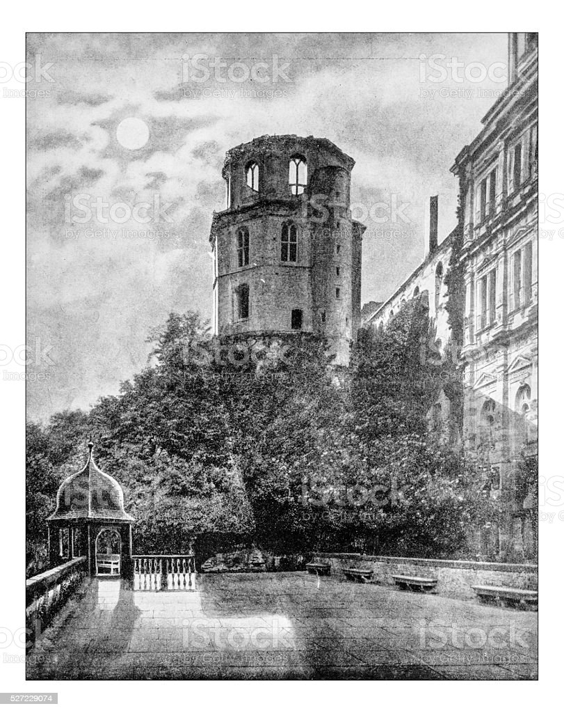 Antique photograph of part of Heidelberg palace (Germany)-19th century stock photo