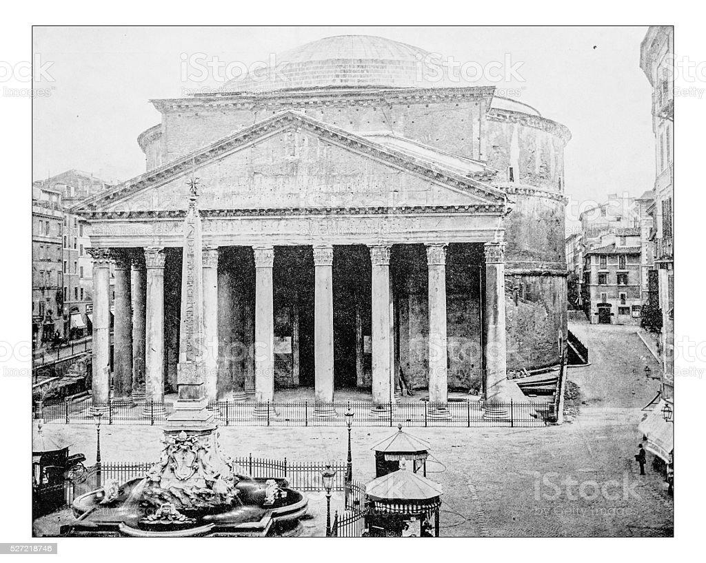 Antique photograph of Piazza della Rotonda with Pantheon (Rome)-19th century stock photo