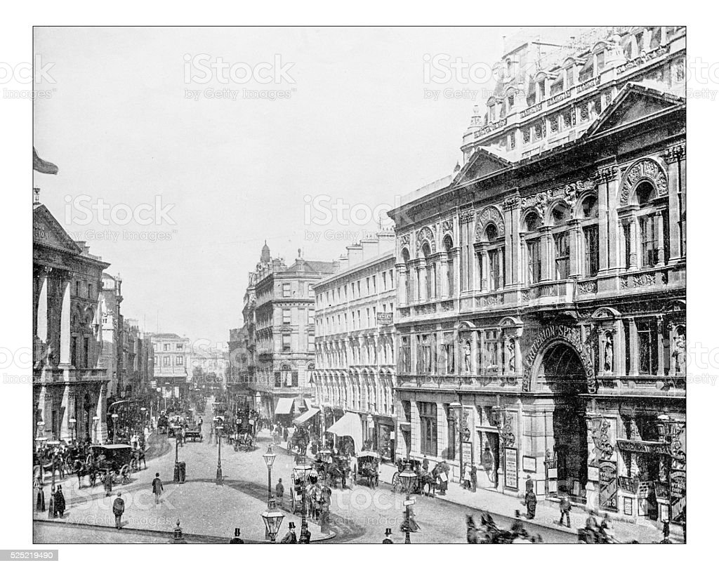 Antique photograph of Piccadilly Circus (London), 19th century stock photo