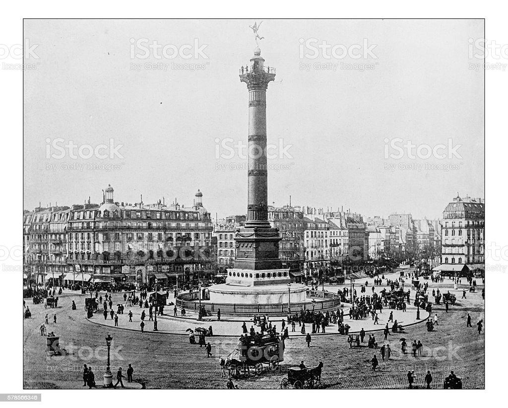 Antique photograph of Place de la Bastille (Paris, France)-19th century stock photo