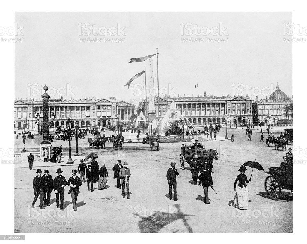 Antique photograph of Place de la Concorde (Paris, France)-19th century stock photo