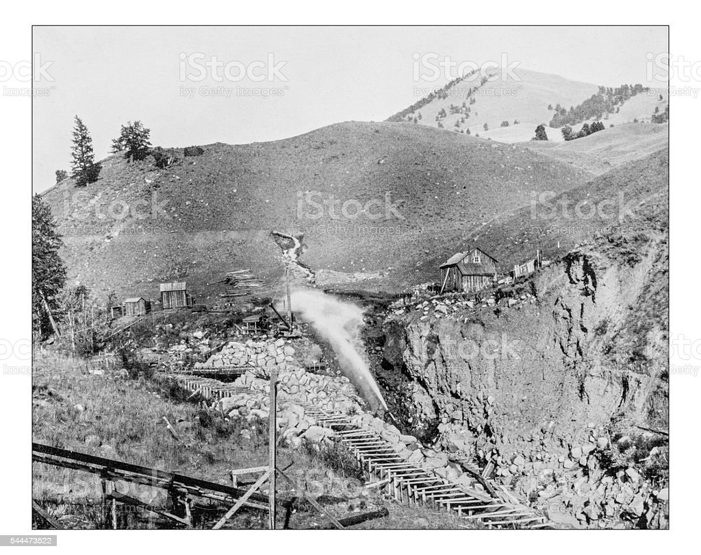 Antique photograph of placer mining scene in California (Usa)-19th century. stock photo