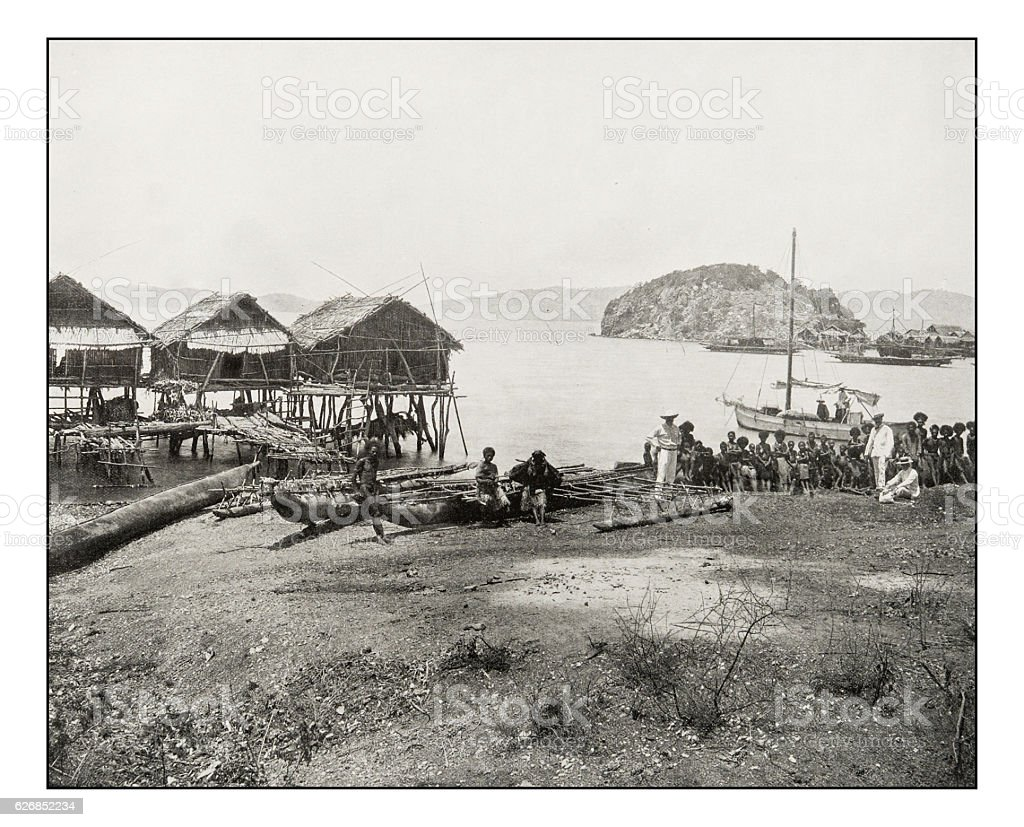 Antique photograph of Port Moresby stock photo