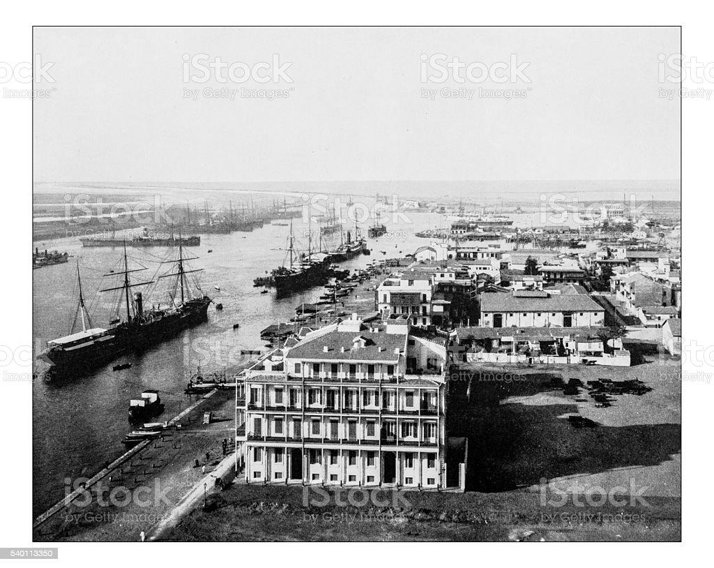 Antique photograph of Port Said on Suez Canal (Egypt)-1880 stock photo