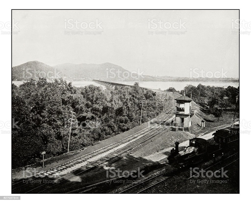 Antique photograph of railway bridge on Susquehanna river stock photo