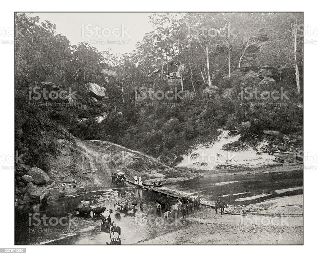 Antique photograph of Richmond River stock photo