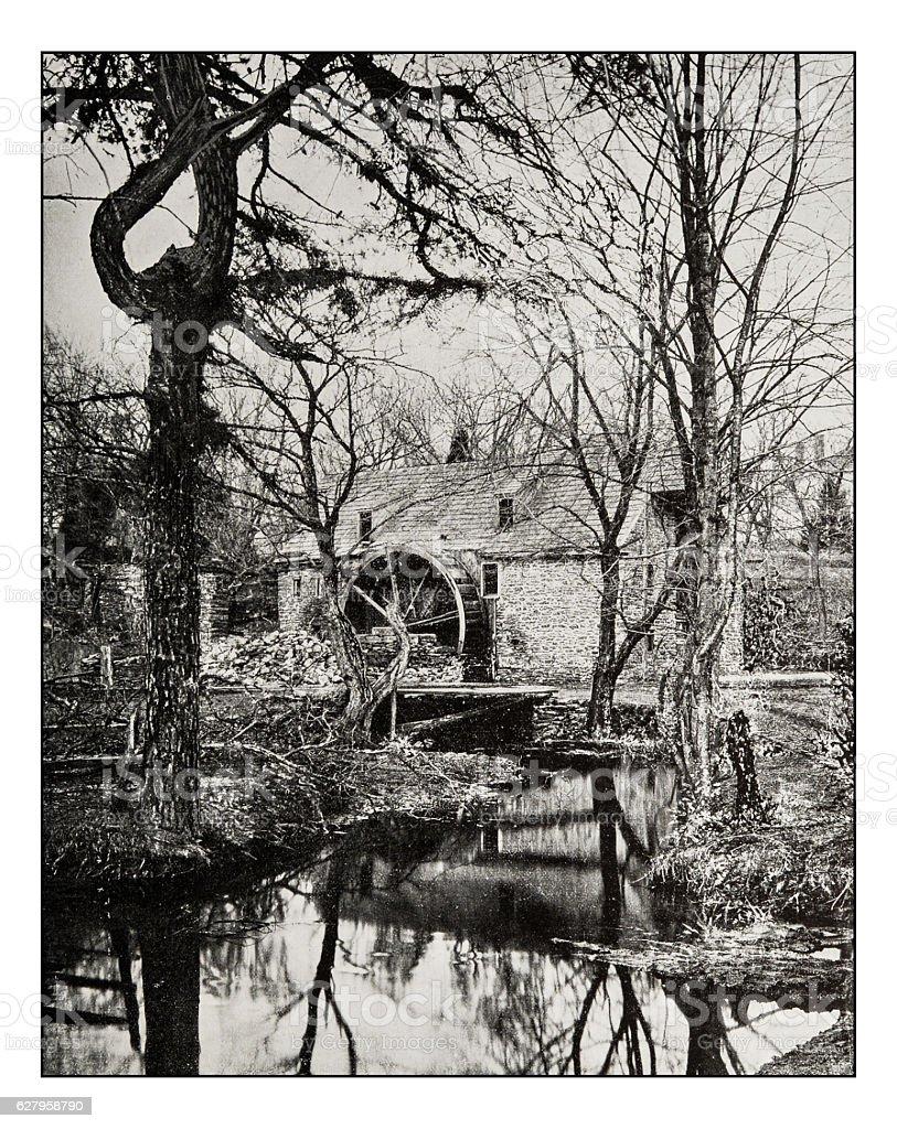 Antique photograph of Robert's Mill in Pennsylvania stock photo