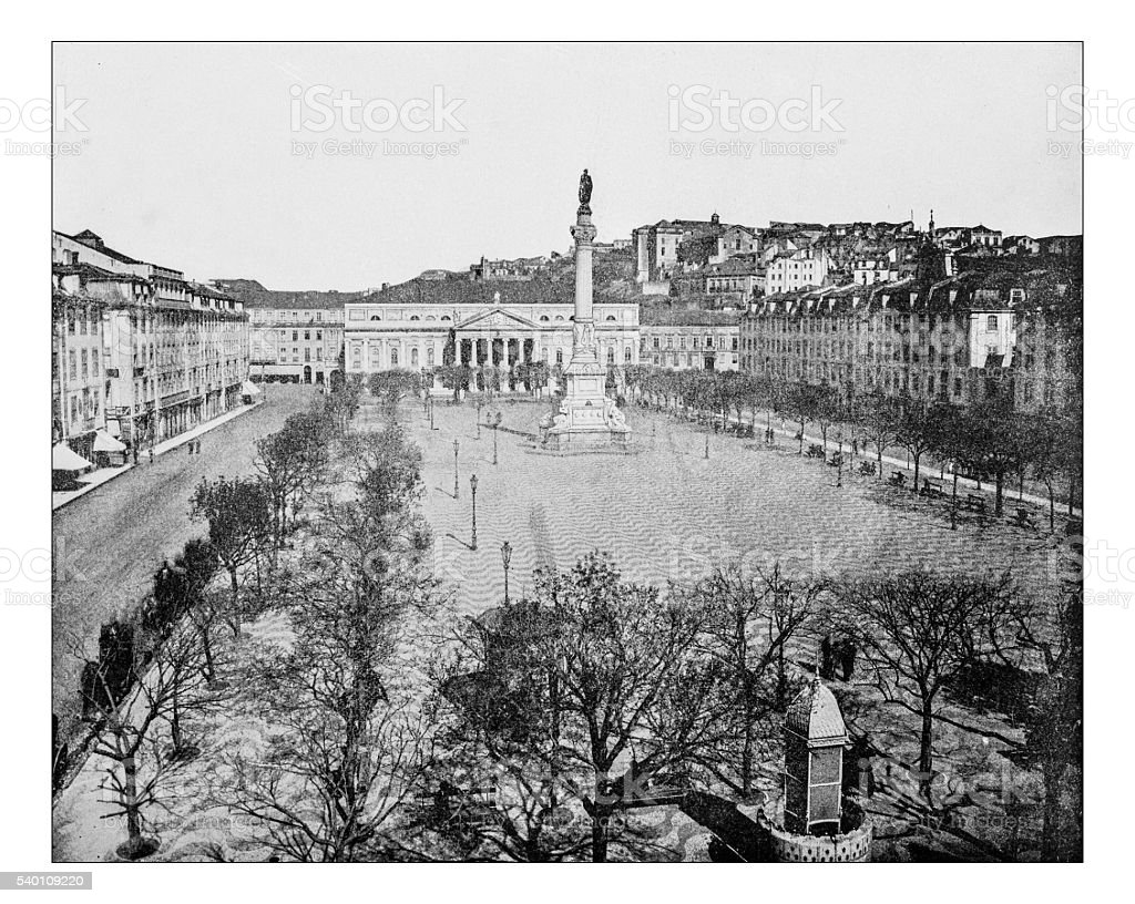 Antique photograph of Rossio Square (Lisbon, Portugal)- 19th century stock photo