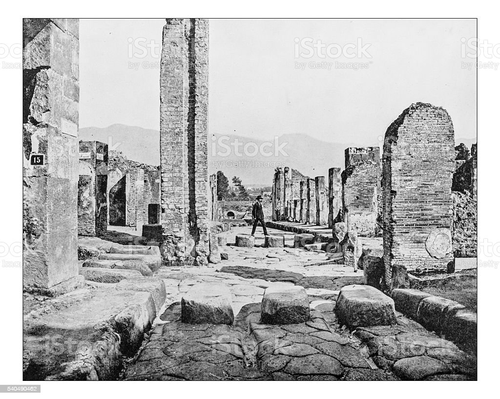 Antique photograph of ruins of Pompeii (Italy)-19th century stock photo