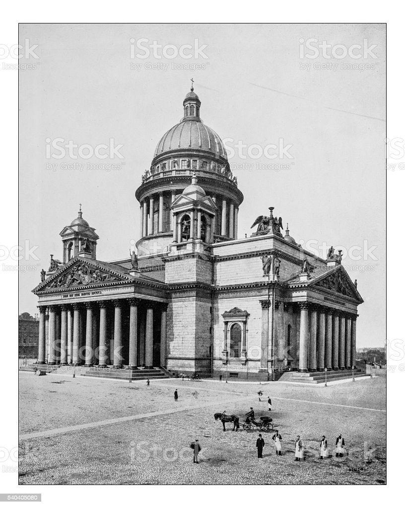 Antique photograph of Saint Isaac's Cathedral (Saint Petersburg, Russia)-19th century stock photo