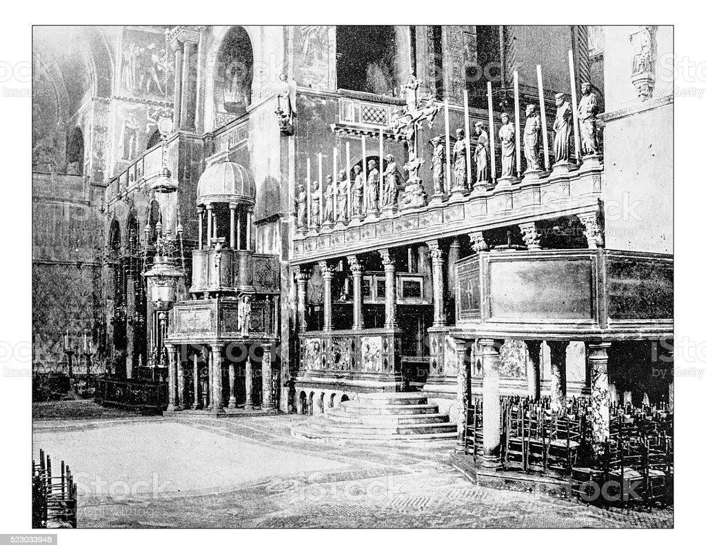 Antique photograph of Saint Mark's Basilica (Venice, Italy) stock photo