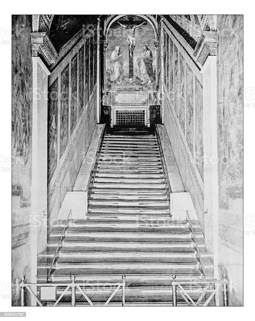 Antique photograph of Sainted Stairway (Scala Santa) in Rome stock photo