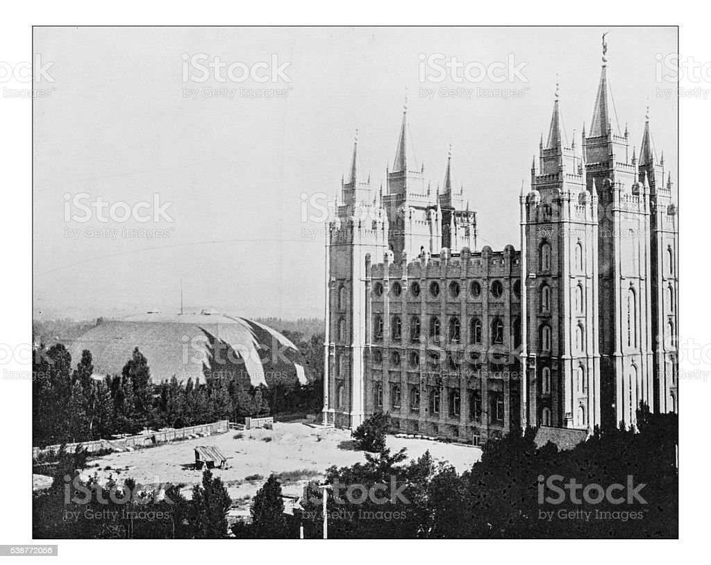 Antique photograph of Salt Lake Temple (Utah,USA)-19th century stock photo