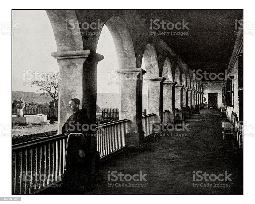 Antique photograph of Santa Barbara mission stock photo