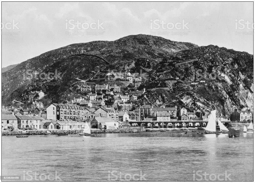 Antique photograph of seaside towns of Great Britain and Ireland: Barmouth stock photo